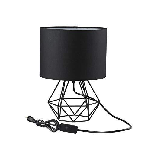Jeffrien Vintage Tischlampe, DIY Tischleuchte Modern Körbchenstil Stil Kreativer für Schlafzimmer Nachttischlampe Arbeitszimmer Office Schwarz