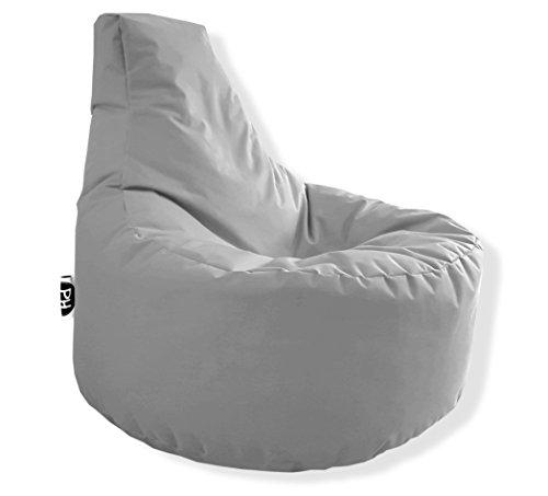 Patchhome Gamer Kissen Lounge Kissen Sitzsack Sessel Sitzkissen In & Outdoor geeignet fertig befüllt - Grau - in 25 Farben