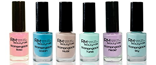 Stampinglack Set 6x4ml Rosa Nude Flieder Türkis Ocean Sky Stamping Lack Nagellack Nail Polish RM Beautynails