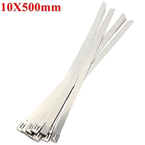 10pcs 10X500mm Ball Lock Metal Stainless Steel Zip Ties Wrap Strap by ICEhm-13