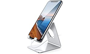 Soporte Móvil, Lamicall Soporte Teléfono - Soporte Dock Base para Teléfono para iPhone 12 Mini, 12 Pro Max, 11 Pro, Xs Xs Max XR X 8 7 6 plus 5 4, Samsung S10 S9 S8, Huawei, Otras Smartphones - Plata