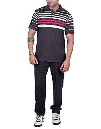 Men's Dark Grey cotton blended striper nightsuit set - Zipper Lower and polo t-shirt