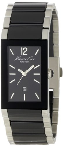 Kenneth Cole Ladies Black Ceramic And Silver Stainless Steel Bracelet Watch Kc4740