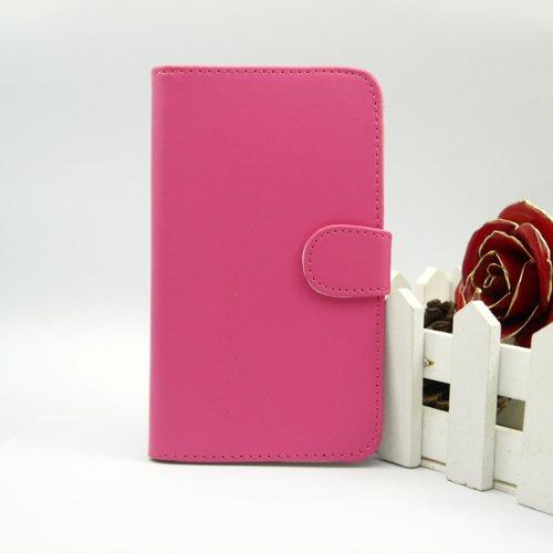 Gadgets World Portefeuille de couverture de chiquenaude PU Cases Grip en cuir, étuis en silicone doux, dur Retour cas s'inscrit pour Apple iPhone 5S, 5G et l'iPhone 5 ne + grand stylet stylet. (Baby B Hotpink