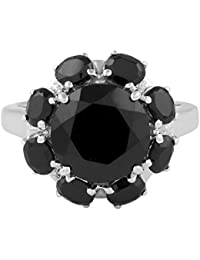 Allure Jewellery 925 Sterling Silver Single Black Color Gemstone Ring