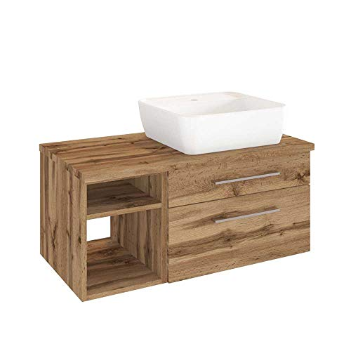 #Pharao24 Waschtischunterschrank mit Aufsatz-Waschbecken Wildeiche Dekor#
