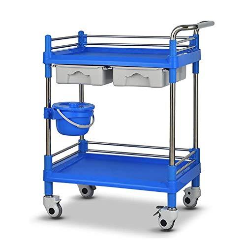 Universal Mobile Cart (Kstcfc Heavy-Duty-ABS-Utility-Cart Work-Home-Cart-Tool 2-Tier-Mobile-SPA-Trolley-Wagen mit Schubladen und Schmutzkübel, Universal-Rad Beauty-Wagen mit Bremse Geeignet für Jede Szene)