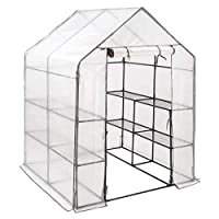 CHRISTOW Extra-Large 6ft Walk-In Greenhouse, Compact Garden Growhouse, 4 Shelves, Sturdy Steel Frame, Double Zip Reinforced Cover