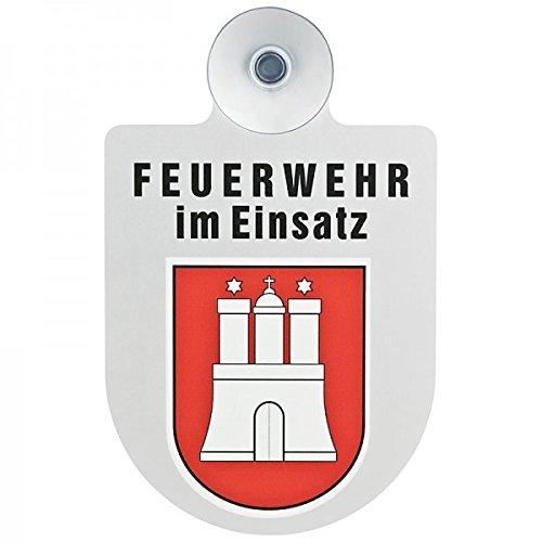 Preisvergleich Produktbild Alu Saugnapf Wappen Schild Feuerwehr im Einsatz mit Wappen Hamburg