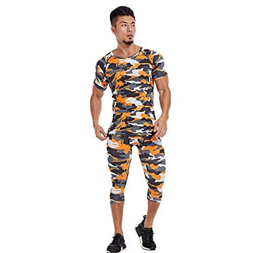 Setsail Modischer Sets für Herren Outdoor-Sets gedruckt elastische Fitness atmungsaktiv schnell trocknend Sport Engen Anzug -