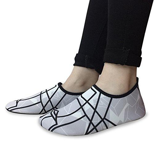 L-RUN Unisex Wasser Schuhe Barfuß Skin Schuhe für Run Dive Surf Swim Beach Yoga Dunkelgrau