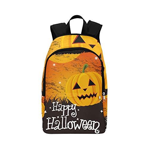 Happy Halloween Karte Kürbis Nachricht Lässig Daypack Reisetasche College School Rucksack Für Männer Und Frauen