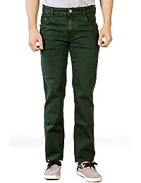 Par Excellence Men's Green Relaxed Fit Jeans