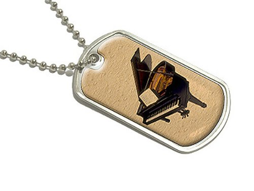 Grand Piano–Militärische Erkennungsmarke Gepäck Schlüsselanhänger (Piano Aufkleber Für Schlüssel)