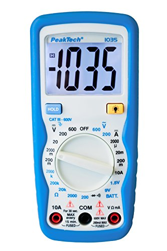 PeakTech 1035 - RMS Digitales Multimeter CAT III mit Display-Licht, Batterietester, Spannungsmesser, Handmultimeter, Messgerät, Voltmeter, Elektronisches Strommessgerät, Durchgangsprüfer - Max. 600 V