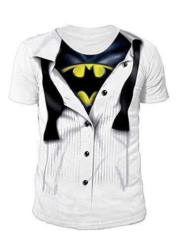 DC Comics - Batman Logo Herren T-Shirt - Suit (Weiss) (S-XL) (M)