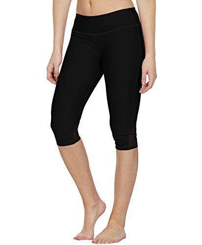 icyzone Damen Sport Mesh Leggings - 3/4 Sporthose kurz Training Tights Fitness Capri Yoga Pants (Black, L)