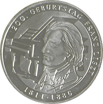 """Preisvergleich Produktbild ORIGINALE 10 - EURO - MÜNZE - SILBERGEDENKMÜNZE - DEUTSCHLAND - GERMANY - ALLEMAGNE """" 200. Geburtstag Franz Liszt """" 2011 - PRÄGESTÄTTE: G - ERHALTUNG: STEMPELGLANZ - MATERIAL: SILBER 625/1000 - IN MÜNZKAPSEL"""