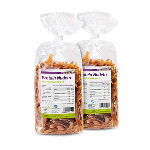 Protein Nudeln - Neue Rezeptur - 61{d434a5626f8ad7b1ba30561a38d3dcf955fcf74042611c3d7036c0b929a320e7} Eiweiss - Nur 15{d434a5626f8ad7b1ba30561a38d3dcf955fcf74042611c3d7036c0b929a320e7} Kohlenhydrate - Eiweiß Pasta - Made in Germany (2 x 250g)