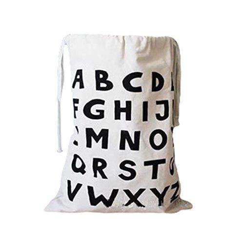 Daorier Sac de Rangement en Toile Cordon Enfants Vêtements de Bébé Jouet Blanchisserie Garage Sac de Panier 1 Pcs (ABC)