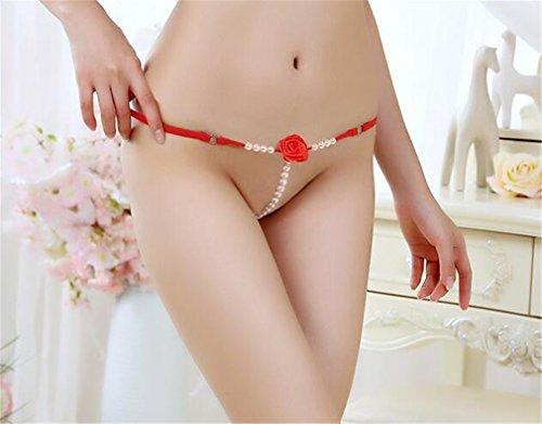 Boowhol Frauen Unterwäsche Rose Perlen Massage Spitze Tanga Sexy T-Thong Perspektive Pantys Rote