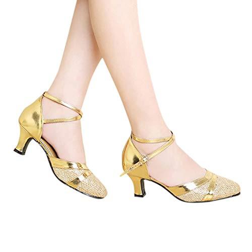 Zapatos de Tacones para Mujer Zapatos de Baile Latino Zapatos de tacón Fiesta Tango Salsa Zapatos de Baile Sandalias de Vestir Dorado 39