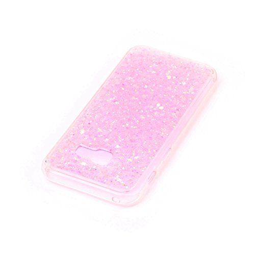 Paillette Coque Housse Etui pour Galaxy A3 2017, Galaxy A3 2017 Coque en Silicone Bling Housse Etui Gel Slim Case Soft Gel Cover, Ukayfe Or Rose Coque Etui de Protection Cas en caoutchouc en Ultra Sli Puce flash couleur-rose