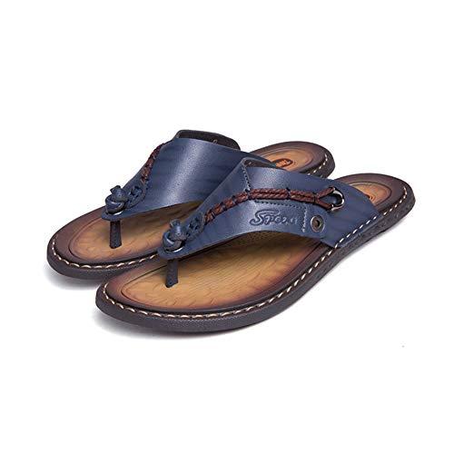 AQVQA Sommer Strand Reise Schuhe Mens Casual Flip Flops Leder Komfortable Sandalen Outdoor Hausschuhe Weich und Sport Leicht (2019 Neueste),39
