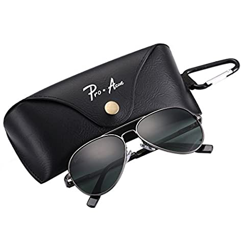 Pro Acme Small Polarized Aviator Sunglasses for Adult Small Face and Junior,52mm (Gunmetal Frame/G15 Lens,