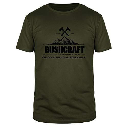 FABTEE - Bushcraft Outdoor Survival Adventure - Herren Shirt Größen S-3XL, Größe:L, Farbe:Oliv