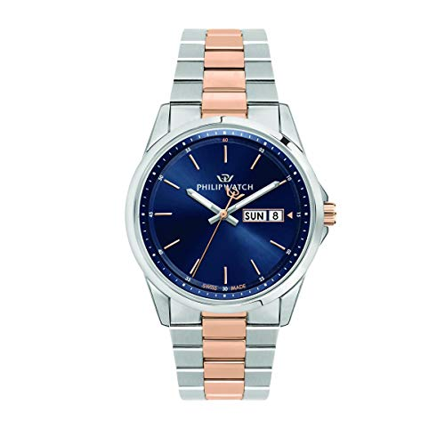 Philip Watch Men's Watch, Capetown Collection, Quartz Movement and Three Hands with Day-Date, Equipped with a Stainless Steel and Rose Gold Bracelet - R8253212001