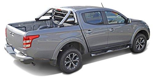 Fahrzeugspezifischer Edelstahl Überrollbügel 76mm mit Gitter & LED Rückleuchte inkl. Teilegutachten - passend für alle Kabinentypen.