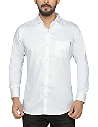 PP Shirts Men White Coloured Shirt With Stiches On Pocket And Bottom