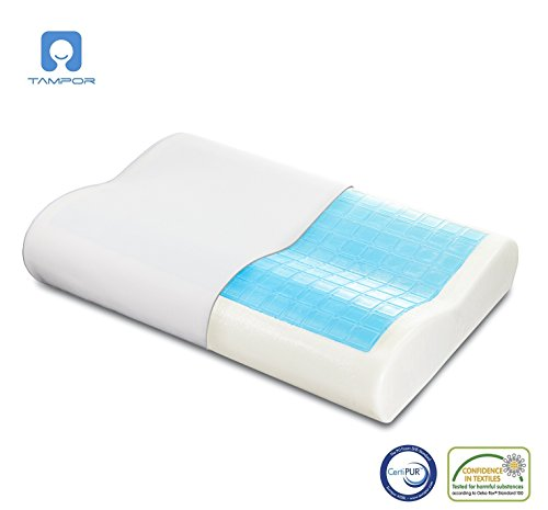 Memory Foam Cool Gel Pillow with Zipped Washable Pillow Cover by TAMPOR,Ergonomic Neck and Head Support Pillows with Temperature Sensitive Memory Foam,Hypoallergenic,Dustmite Free, 60x40x9/11 CM