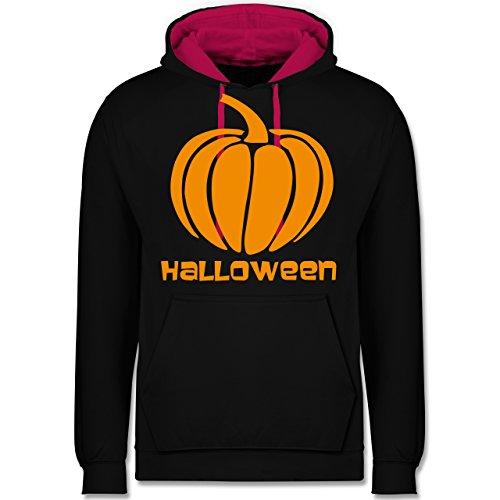 Shirtracer Halloween - Kürbis - S - Schwarz/Fuchsia - JH003 - Kontrast Hoodie