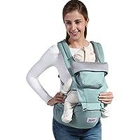UUMU 12 In 1 Babytrage Ergonomische Baumwoll, Weiche Kind Vorne Sicherheitsträger Rückentrage und Hüfttrage (0-20 Kg, 0-36 Mündungen)