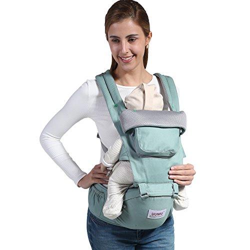 UUMU 12 In 1 Babytrage Ergonomische Baumwoll, Weiche Kind Vorne Sicherheitsträger Rückentrage und Hüfttrage (0-20 Kg, 0-36 Mündungen) (Grün)