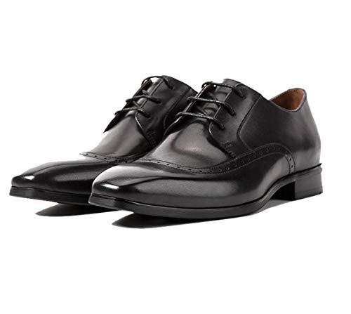 Bullock Intagliato da Uomo con Testa Quadrata Inghilterra Scarpe da Lavoro Fatto A Mano Marrone Nero Party Gentleman Formal Office Black-40 EU