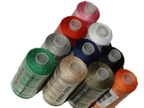 ILC MERCERIE PARADIS 10 Bobines De Fil A Coudre 100% Polyester 500 Mètres Noir, Marine, Blanc, Gris, Rouge, Orange, Beige, Kaki, Vert, Rose