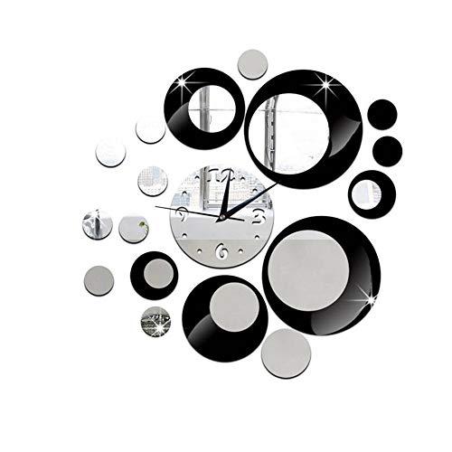 LWPCP Modernos Círculos Espejo Estilo Acrílico Pared Reloj Extraíble Pegatinas Decoración del Hogar,Black