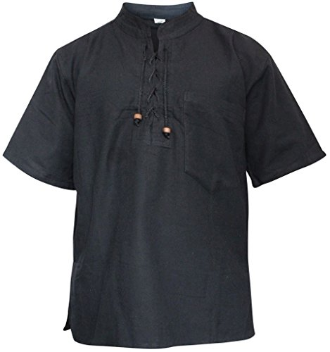 SHOPOHOLIC FASHION Herren Halb ärmlig Hippie Großvater Shirt Black