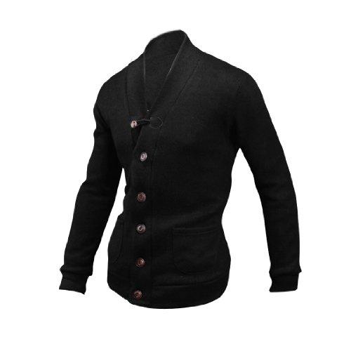 Herren V-Ausschnitt Langärmelig Kunstwildleder Detail Sonstige Shirts Strickjacke Schwarz
