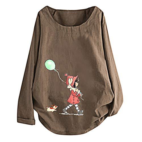 PiabigkaDonna Nuovo Tunica T-Shirt Maglietta Jacquard Top Camicette Donne Manica Lunga Blusa Tops Camicia Magliette con Elefante Stampa