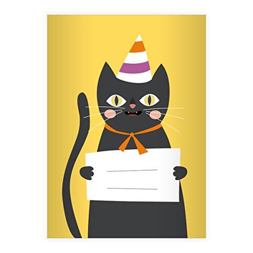 Kartenkaufrausch 2 Super süße Katzen DIN A4 Schulhefte, Schreibhefte mit Party Hut in gelb Lineatur 21 (liniertes Heft)