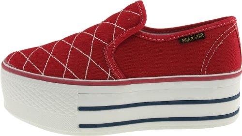 Maxstar C50 basse-dessus de la plate-forme antidérapante Ons Baskets chaussures Rouge - rouge