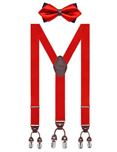 Herren Hosenträger Breit 6 Clips mit Leder in Y-Form/Extra Starken 35mm Elastisch und Längenverstellbar in Verschiedenen Farben Designs für Männer und Damen Hose Rot Fliege3 Herren Leder Rot