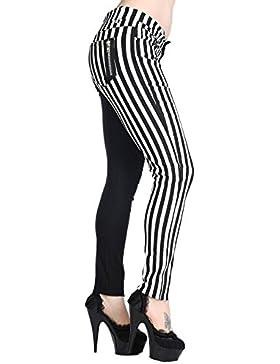 Pantalones Divididos Ajustados Para Mujeres de Banned a rayas mitad en blanco mitad en negro Emo Punk