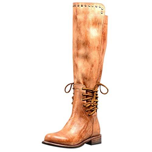LCLrute 35-43 Herbst und Winter Frauen Mode Stiefel Lange Rohr Ritter Weibliche Sheos Dick und Große Retro Nieten dicke Ankle Zip lange Schlauchstiefel runde Zehenschuhe