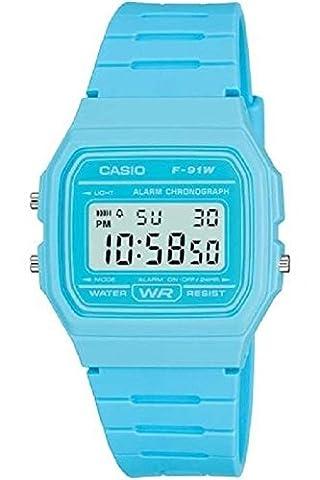 Casio Men's F-91WC-2AEF Quartz Watch with Digital Display and Resin Strap Blue