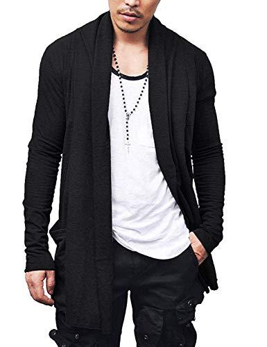 Coofandy Herren Langarmshirt Rollkragen Slim Fit Pullunder Unterhemd Thermische Sweatshirt Thermische Pullover (M, 34-schwarz)